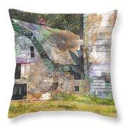Old Barn And Silos Digital Paint Throw Pillow