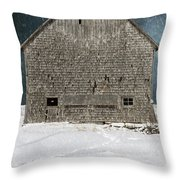Old Barn In A Snow Storm Throw Pillow