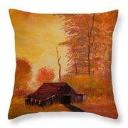 Old Barn In Autumn Throw Pillow