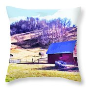 Old Barn In November Filtered Throw Pillow