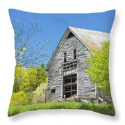 Old Barn In Spring Maine Throw Pillow