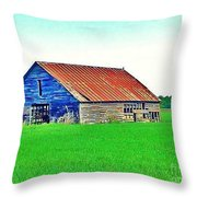 Old Barn On Treaty Road Oakhill Kansas Throw Pillow