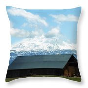 Old Barn With Mount Rainier View Throw Pillow