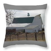 Old Barn With New Roof Throw Pillow