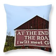 Old Barn With Religious Sign Throw Pillow