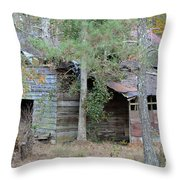 Old Barn With Side Shed Throw Pillow