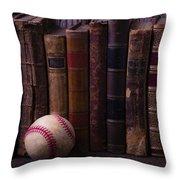 Old Baseball And Books Throw Pillow