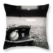 Old Baseball And Glove On Field Throw Pillow