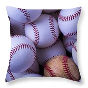 Old Baseball With New Ones Throw Pillow