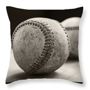 Old Baseballs Throw Pillow