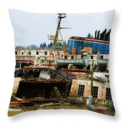 Old B.c. Rusted Ferry Throw Pillow
