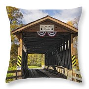 Old Bedford Village Covered Bridge Entrance Throw Pillow