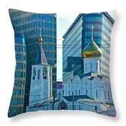 Old Believer-new Believer Church Amid Skyscrapers In Moscow-russia Throw Pillow