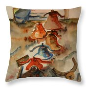 Old Bells To Pasture Throw Pillow