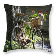 Old Bicycle And Hat Throw Pillow