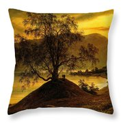 Old Birch Tree At The Sognefjord Throw Pillow