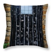Vintage Cottage Black Door Throw Pillow