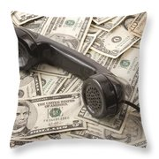 Old Black Phone Receiver On Money Background Throw Pillow