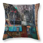 Old Bleach And Dye Works Right Throw Pillow