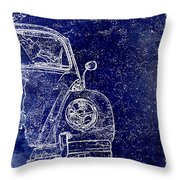 Old Blue Beetle Throw Pillow