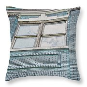 Old Blue Building I Throw Pillow