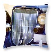 Old Blue Car Throw Pillow