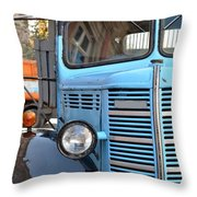 Old Blue Jalopy Truck Throw Pillow