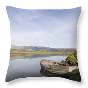 Old Boat On Afon Dovey River Throw Pillow