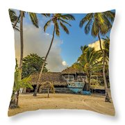 Old Boat On The Beach Throw Pillow