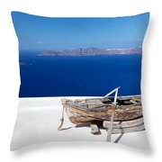 Old Boat On The Roof Of The Building On Santorini Greece Throw Pillow
