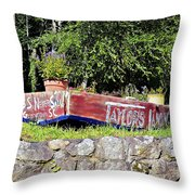 Old Boat Planter Throw Pillow