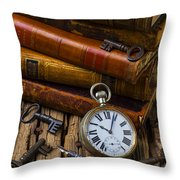 Old Books And Pocketwatch Throw Pillow