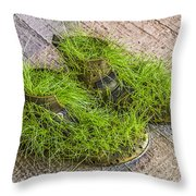 Old Boots Throw Pillow
