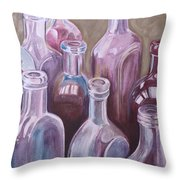 Old Bottles Throw Pillow by Kathy Weidner