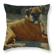 Old Boxer Throw Pillow
