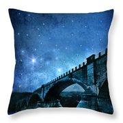 Old Bridge Over River Throw Pillow