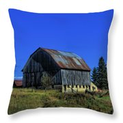 Old Broken Down Barn In Ohio Throw Pillow