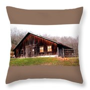 Old Brown Barn Along Golden Road Throw Pillow