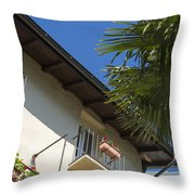 Old Building And Palm Trees Throw Pillow