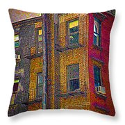 Old Building With  Pipe Throw Pillow