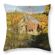 Old Buildings And Fall Colors In Vienna Maine Throw Pillow by Keith Webber Jr