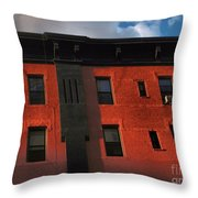Brownstone 1 - Old Buildings And Architecture Of New York City Throw Pillow
