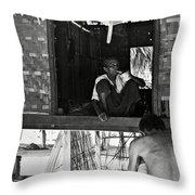 Old Burmese Smoker Woman Throw Pillow