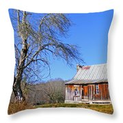 Old Cabin And Tree Throw Pillow