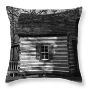 Old Cabin At Fort Washita In Bw Throw Pillow