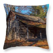 Old Cabin In The Woods Throw Pillow