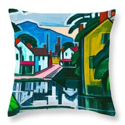 Old Canal Port Throw Pillow
