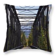 Old Canmore Railroad Bridge Throw Pillow
