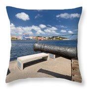 Old Cannon And Queen Juliana Bridge Curacao Throw Pillow