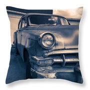Old Car In Front Of Garage Throw Pillow